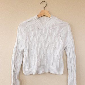 Adorable White Cropped Cable Knit Sweater
